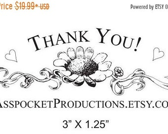 Mothers Day Sale Custom Antique Daisy Thank You with your Shop Name or Message Rubber Stamp Floral Design AD28