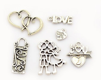 Valentines Day Charm Mix - Set of 6 - Antique Silver - #F263