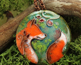Pendant red fox forest keeper. Red fox pendant, Red fox necklace