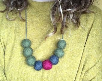 Felt Ball Necklace, handmade, statement necklace, olive green, dark blue, fuschia pink.