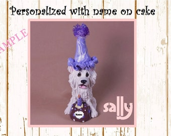 American Eskimo Dog Eskie birthday - NAME on HEART-  OOAK Clay Cake Topper art by Sally's Bits of Clay Original Sculpture