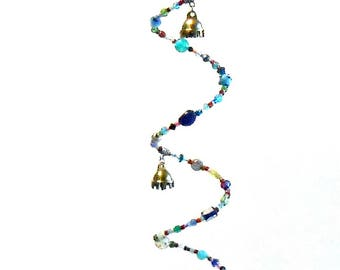 Rainbow Spiral Bell Windchime Suncatcher - Glass Bead Mobile - Beaded Sun Catcher - Czech Crystal Prism - Bohemian Decor - Garden Decor