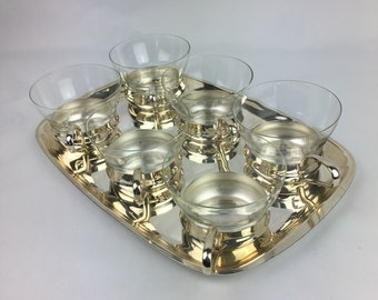 60s tea glasses, retro tea cups, vintage tea Glasses, aluminium tea glasses, Home and Living, Kitchen and Dining, Drink and Barware,