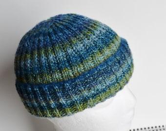 Brother's Brioche Beanie Two - Hand Knit Handspun Winter Hat in Luxurious Superwash Wool/Wool/Silk Blend Blue, Green, Random Stripe