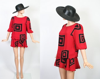 1980s Avant Garde Mini Dress / Drop Waist Flapper / Bold Graphic Print / Slouchy Secretary / Blouson / Sheer / Red + Black / Extra Small