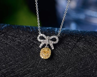 Oval Shaped Yellow Diamond Necklace in 18k White Gold Chain Wedding Birthday Anniversary Valentine's