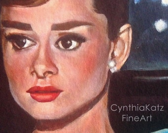 Art Print Reproduction // Vulnerable // Original Acrylic Painting // Movie Art // Audrey Hepburn // 16 cm x 16 cm // Cynthia Katz