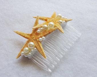Wedding Bridal Natural Starfish and Faux Pearls Comb