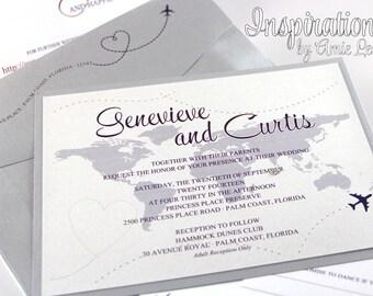 Travel Theme Wedding Invitations, Map Invitations, Destination wedding
