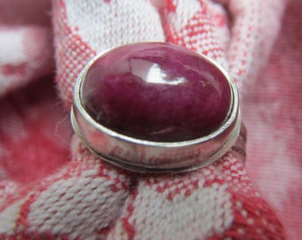 Burgundy Plum Ruby in Finger Shaped Sterling Ring, Size 6 & a Half