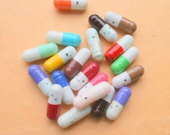 The HAPPY PILLS...nurse. doctor. kawaii. pharmacy. pills. meds. med school. weird. creepy. vitamin. gift. him. her. rainbow. scroll. capsule