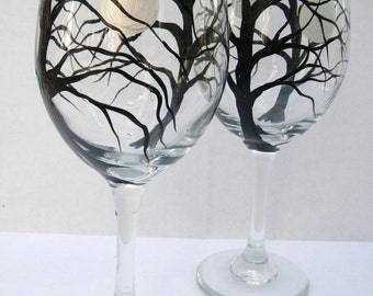 Hand Painted Wine Glasses - Silver Moon