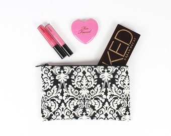 Black and Cream Floral Damask makeup bag - In Stock Ready To Ship