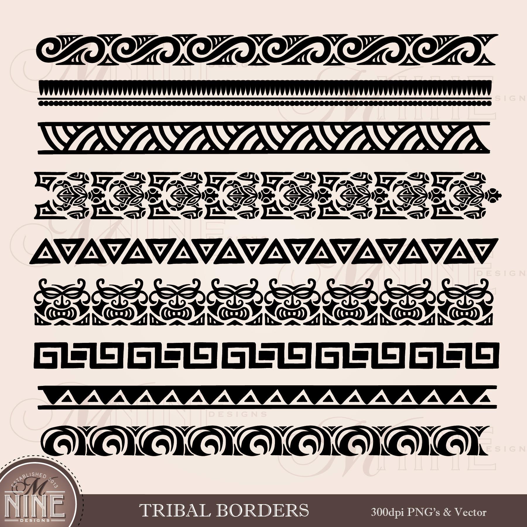 TRIBAL BORDERS Clipart / Polynesian Clipart Borders / Moana