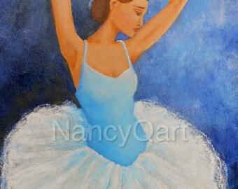 Original ballerina painting, ON SALE blue ballet wall art, dancer artwork on canvas by Nancy Quiaoit
