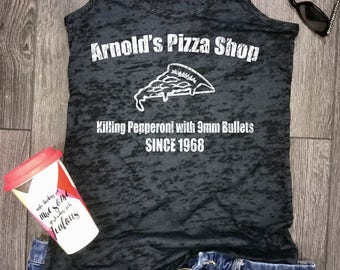 arnolds pizza shop burnout tank, pizza tank, arnold tank, womens burnout tank, funny graphic tee, trendy graphic tee, brunch tank, trendy