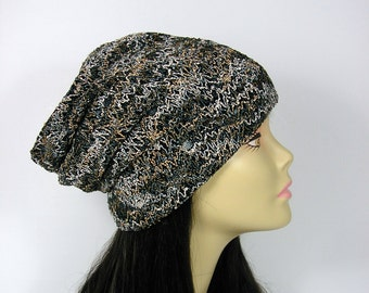 Brown Black White Reversible Sweater Knit Dome Slouch Hat Knit Slouchy Knit Slouchy Beanie Womens Hats Black Slouchy Hats  Black Slouch Hat