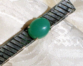 Vintage Tie Clip Jadeite Wedding Necktie Bar That 70's Show Bold Mad Men Estate Aqua Blue Lucite Silver Diamond Cut Father's Day Husband