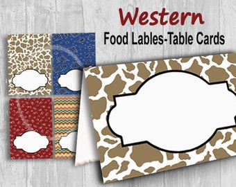 Western Tent Cards, Digital Place Cards, Printable Tent Cards, Food Labels Instant Download, Cowboy Theme, party supplies, Birthday party