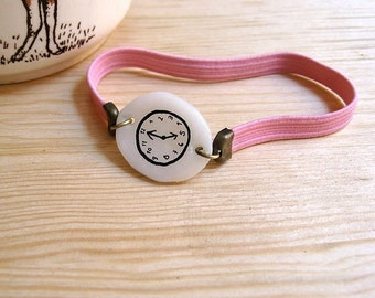 PINK Fake watch with elastic watchband. One-of-a-kind handmade Porcelain bracelet. Toy clock.