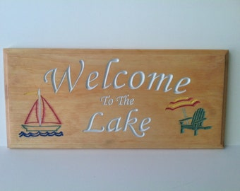 Custom Engraved  Welcome To The Lake Sign 7 1/2 X 15