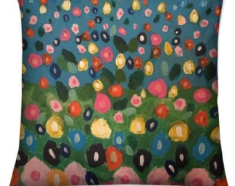 """Floral Throw Cushions """"Summer Meadow"""" Limited Edition Cat Murphy Print - 40 cm"""