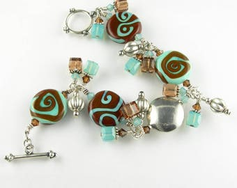 Sterling Silver Lampwork Glass and Crystal Cluster Charm Bracelet in Turquoise Blue and Brown
