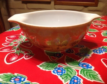 Vintage Pyrex Early American design pattern 442 1.5 quart mixing bowl with handles