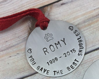"""2"""" Round Personalized Christmas Ornament, Pet Memorial Xmas Ornament, Personalized Hand Stamped Ornament, Pet Remembrance Ornament, Pet Loss"""