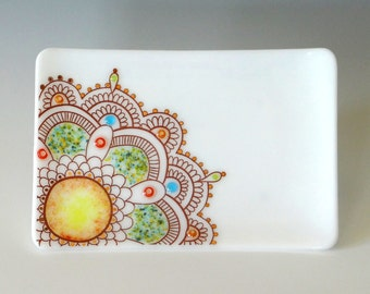 Fused Glass Dish Mandala Handcrafted Plate Trinket White Red Orange Aqua Multi 22K Gold