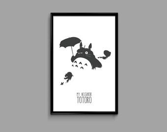 My Neighbor Totoro 11 x 17 Minimal Movie Poster