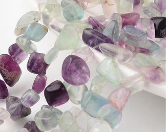 "Rainbow Medium Fluorite Gemstone Nugget Strands - 15.7"""