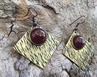 Handmade earings,brass earings,carnelian stone,bronze earings,oxidized jewerly,unique