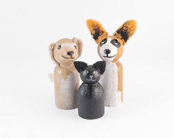 ADD ON 3 Pet miniatures - Add 3 Pets to your Custom Topper - cat lovers cake topper - dog wedding