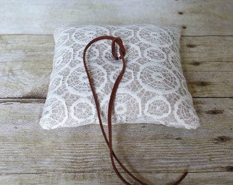 Leather and Lace Ring Bearer Pillow