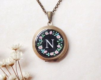 Monogram Rose Wreath Locket - Bridesmaid Gift - Brass Round Locket - Floral Initial Necklace