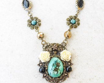 Turquoise Assemblage Flower Necklace, Stone Pendant Collage Necklace