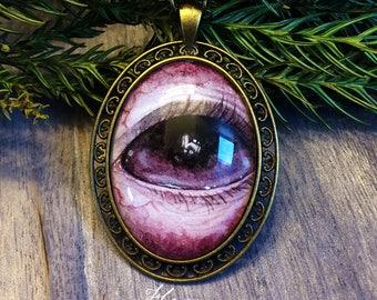 Zombie eye pendant, eye necklace, macabre jewelry, eye art, purple pendant, anatomical jewelry, anatomy accessory, hand painted eye
