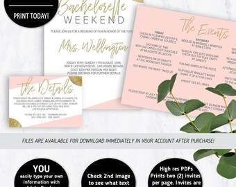 Bachelorette Weekend, Bachelorette Invite, Bridal Shower, Printable, Itinerary, Bachelorette Invites, Weekend Itinerary, Weekend Invitation