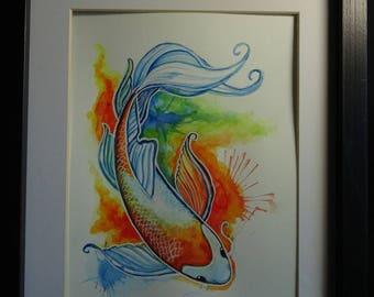 Rainbow Splash Koi Watercolor Painting