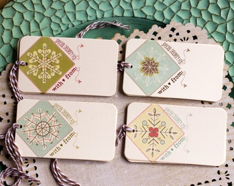PRINTABLE Snowflake Christmas  Gift Tags - Retro Snowflakes - Print Your Own - Christmas Wrapping - Christmas Printable - Digital Download
