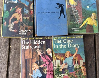 Old Nancy Drew Mysteries, Lot of 5 Vintage Books, 1939, 1951, 1955,1959, 1962, Tapping Heels, Black Key, Witch Tree, Hidden Staircase, Diary