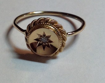 Vintage 15c Gold  Diamond Conversion Stickpin Ring