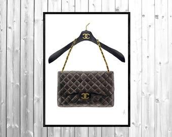 Chanel art, Chanel illustration, Chanel print, Chanel bag print, fashion illustration, fashion wall art, fashion print, fashion poster