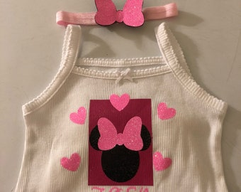 Personalized Minnie Mouse onies with Minnie bow headband