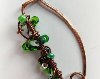 Hammered Wire Wrap Copper Shawl Pin with Green Glass Beads
