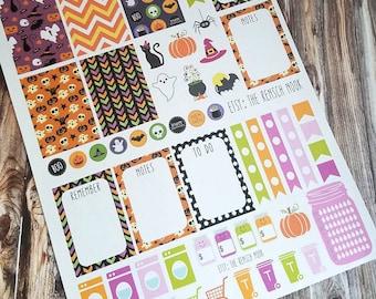 SALE! Halloween planner stickers - Erin Condren - Happy Planner - monthly weekly stickers - holiday - full sheet - October planner stickers