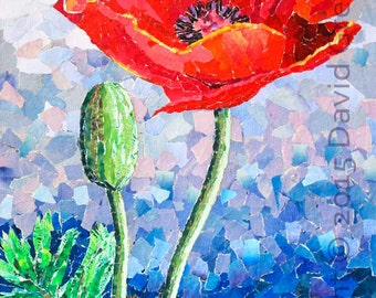Oriental Poppies - Signed Fine Art Giclée Print. Red flower print from original fine art collage, contemporary print.
