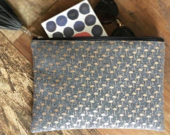 Clutch bag, Handbag, Bag, gray with flamingo gold print with wrist strap