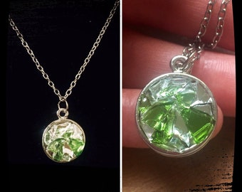 Multi Color Shattered Glass Custom Circle Pendant Necklace